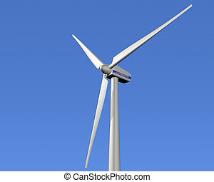 Wind power - Illustration of a wind turbine with a clear...