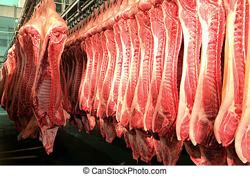 Fresh meat in a cold cut factory - Fresh meat pigs in a cold...