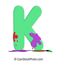 "Alpha Paint Blob K - K in alphabet set ""Alpha Paint Blobs""..."