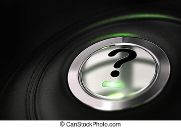 automobile button with question mark symbol over black...