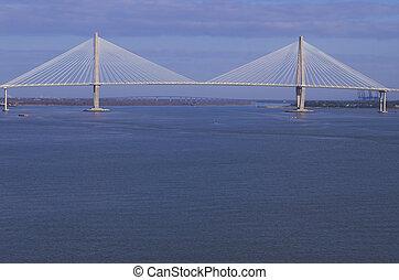 Suspension Bridge - A large suspension bridge in Charleston,...