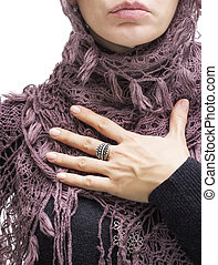 woman pledging with her hand on chest - fashion model...