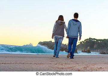 lungo, spiaggia, tramonto, Romantico, passeggiata