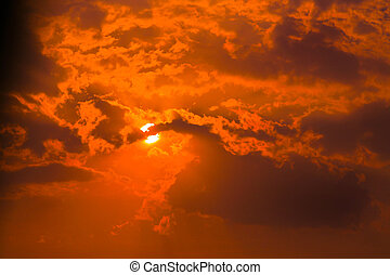 red sky with clouds and sun - beautiful red sky with clouds...