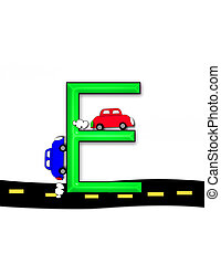 "Alphabet Highway E - E, in the alphabet set ""Highway"", sits..."