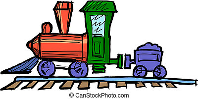 Toy steam engine train - Hand drawn illustration of a toy...