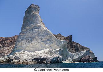 White beach. Akrotiri. Santorini - View of white rock on the...