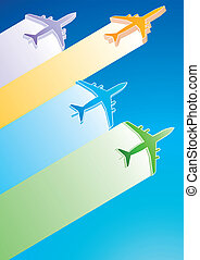 3D Vector Airplanes - Gradient Color Commercial Airplanes...