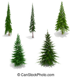 3d trees pack isolated on white with ground shadows