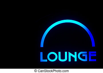 Lounge - A neon lounge sign outside of a bar.