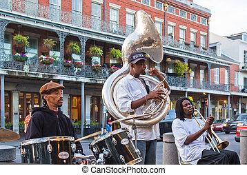 jazz, banda, nuevo, Orleans