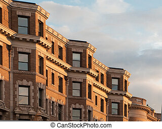 Boston Back Bay Brownstones - Detail view of Bostons famous...