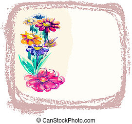 vector background with watercolor flowers