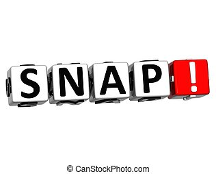 3D Snap Button Click Here Block Text over white background