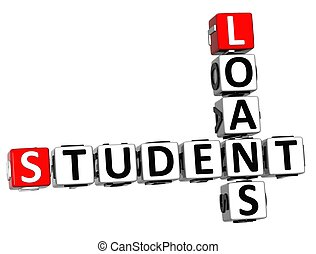 3D Student Loans Crossword on white background