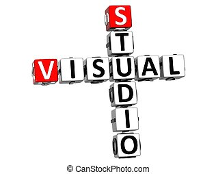 3D Visual Studio Crossword on white background