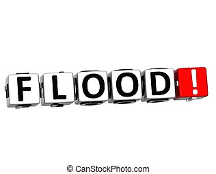 3D Flood Button Click Here Block Text over white background