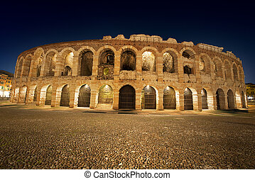 Arena di Verona by Night - Italy - Arena of Verona at night,...