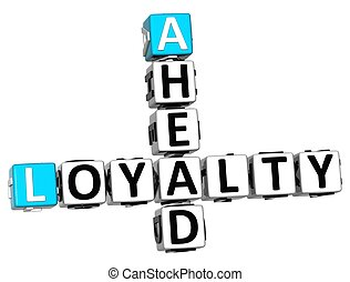 3D Loyalty Ahead Crossword on white background