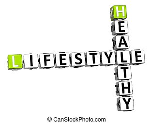 3D Healthy Lifestyle Crossword on white background