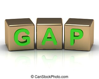 Gap on the gold cubes on a white background