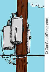 Transformer on Electric Pole - Three transformers on an...
