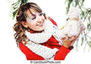 beautiful woman in warm clothing with white scarf