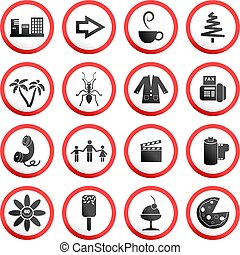 round road signs - collection of random and made up round...