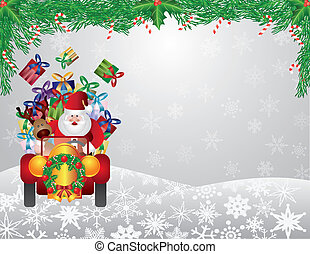 Santa and Reindeer Driving with Garland Illustration