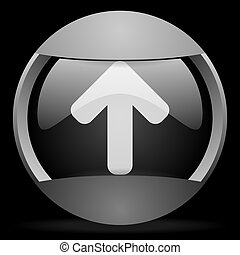 arrow up round gray web icon on black background