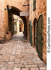 A narrow street in historic Jaffa , Israel - Jaffa is a...