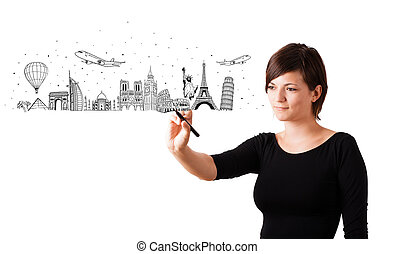 Young woman drawing famous cities and landmarks on...