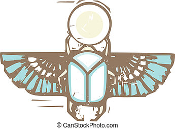 Egyptian Distressed Winged Scarab - Woodcut style of an...