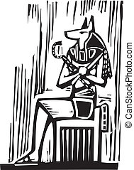 Egyptian Sitting Anubis - Woodcut style image a seated...