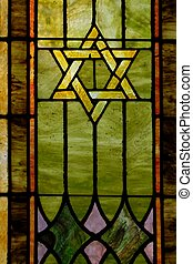Star of David - Stained glass window depicting a Star of...