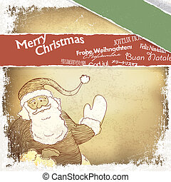 Retro Santa Claus greetings in different languages. Vector, EPS10