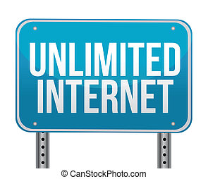 unlimited internet sign over a white background illustration...