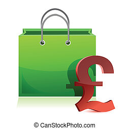 shopping bag and pound symbol illustration design over white