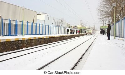 Train station in snow