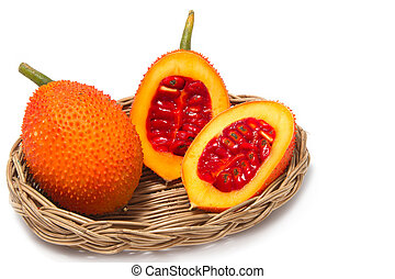 Gac, fruta, bebê, jaca, spiny, amargo, gourd, doce,...