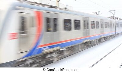 Train motion in snow - Electric train motion in snow (with...