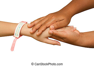 doctor hand helping patient hand on white background