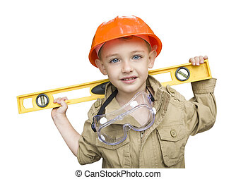 Child Boy with Level Playing Handyman Outside Isolated -...