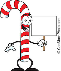 Cartoon candy cane holding a sign