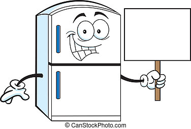 Cartoon refrigerator holding a sign - Cartoon illustration...