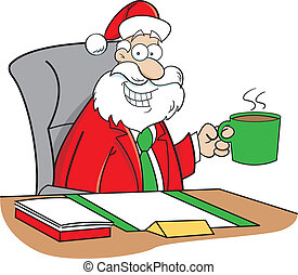 Cartoon Santa Claus drinking coffee - Cartoon illustration...