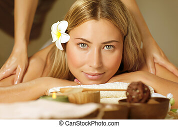 Beautiful woman on massage table - Image of beautiful woman...