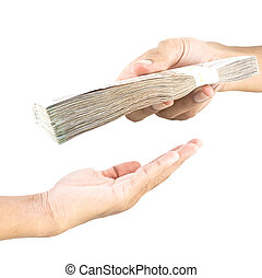 Hand handing over money to another hand isolated on white...