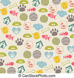 pets icons over beige background vector illustration