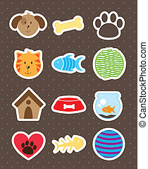 pets icons over brown background. vector illustration